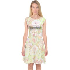 Lovely Floral 36c Capsleeve Midi Dress
