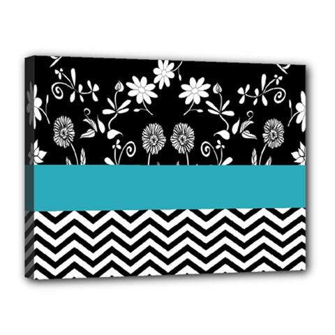 Flowers Turquoise Pattern Floral Canvas 16  X 12