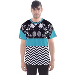 Flowers Turquoise Pattern Floral Men s Sports Mesh Tee