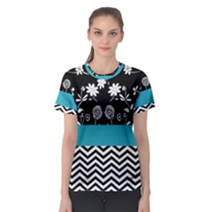 Flowers Turquoise Pattern Floral Women s Sport Mesh Tee