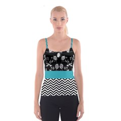 Flowers Turquoise Pattern Floral Spaghetti Strap Top