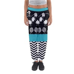 Flowers Turquoise Pattern Floral Women s Jogger Sweatpants