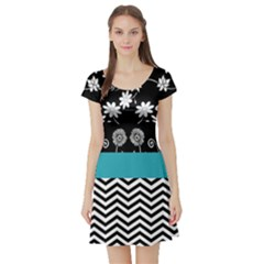 Flowers Turquoise Pattern Floral Short Sleeve Skater Dress