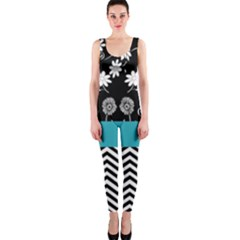Flowers Turquoise Pattern Floral OnePiece Catsuit