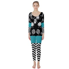 Flowers Turquoise Pattern Floral Long Sleeve Catsuit