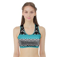 Flowers Turquoise Pattern Floral Sports Bra With Border