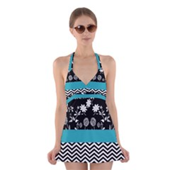 Flowers Turquoise Pattern Floral Halter Swimsuit Dress