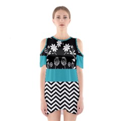 Flowers Turquoise Pattern Floral Shoulder Cutout One Piece
