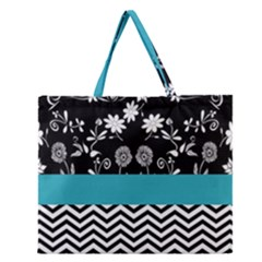 Flowers Turquoise Pattern Floral Zipper Large Tote Bag