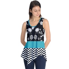 Flowers Turquoise Pattern Floral Sleeveless Tunic