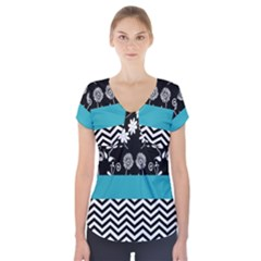 Flowers Turquoise Pattern Floral Short Sleeve Front Detail Top