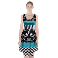 Flowers Turquoise Pattern Floral Racerback Midi Dress
