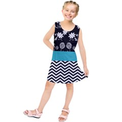 Flowers Turquoise Pattern Floral Kids  Tunic Dress