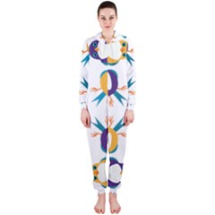 Pattern Circular Birds Hooded Jumpsuit (ladies)