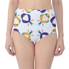 Pattern Circular Birds High Waist Bikini Bottoms