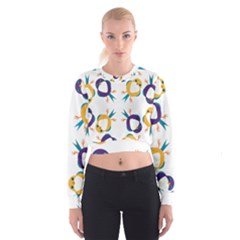 Pattern Circular Birds Cropped Sweatshirt