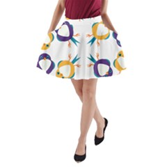 Pattern Circular Birds A Line Pocket Skirt
