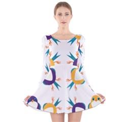 Pattern Circular Birds Long Sleeve Velvet Skater Dress