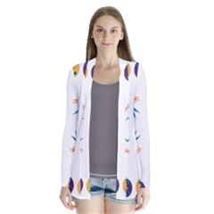 Pattern Circular Birds Drape Collar Cardigan