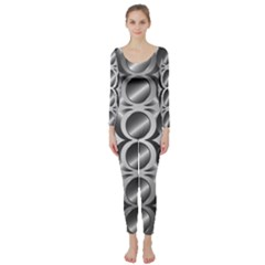 Metal Circle Background Ring Long Sleeve Catsuit