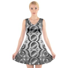 Metal Circle Background Ring V Neck Sleeveless Skater Dress