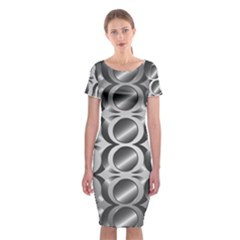 Metal Circle Background Ring Classic Short Sleeve Midi Dress
