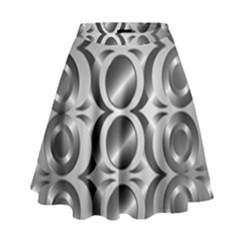 Metal Circle Background Ring High Waist Skirt