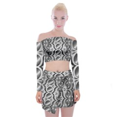 Metal Circle Background Ring Off Shoulder Top With Skirt Set