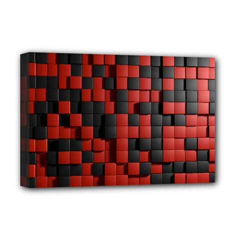 Black Red Tiles Checkerboard Deluxe Canvas 18  X 12