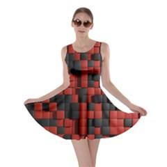 Black Red Tiles Checkerboard Skater Dress