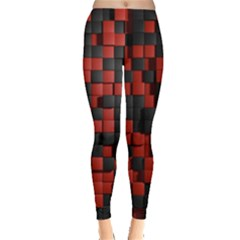 Black Red Tiles Checkerboard Leggings