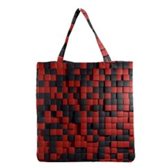 Black Red Tiles Checkerboard Grocery Tote Bag