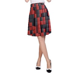 Black Red Tiles Checkerboard A-Line Skirt