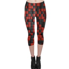 Black Red Tiles Checkerboard Capri Leggings