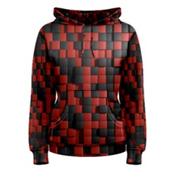 Black Red Tiles Checkerboard Women s Pullover Hoodie