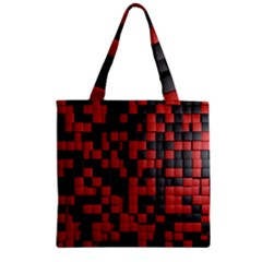 Black Red Tiles Checkerboard Zipper Grocery Tote Bag