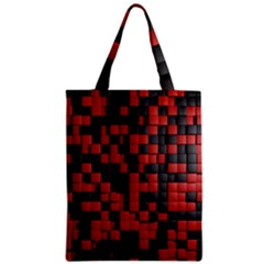Black Red Tiles Checkerboard Zipper Classic Tote Bag