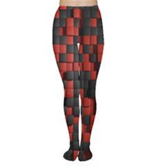 Black Red Tiles Checkerboard Women s Tights