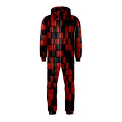 Black Red Tiles Checkerboard Hooded Jumpsuit (kids)