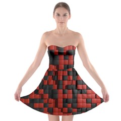 Black Red Tiles Checkerboard Strapless Bra Top Dress