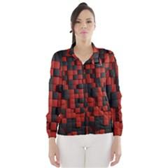 Black Red Tiles Checkerboard Wind Breaker (women)