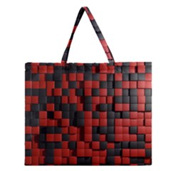 Black Red Tiles Checkerboard Zipper Large Tote Bag