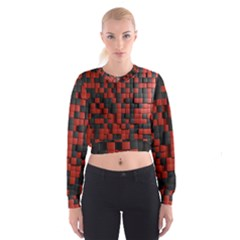 Black Red Tiles Checkerboard Cropped Sweatshirt