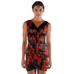 Black Red Tiles Checkerboard Wrap Front Bodycon Dress
