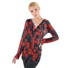 Black Red Tiles Checkerboard Tie Up Tee
