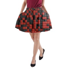 Black Red Tiles Checkerboard A-Line Pocket Skirt