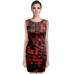 Black Red Tiles Checkerboard Classic Sleeveless Midi Dress