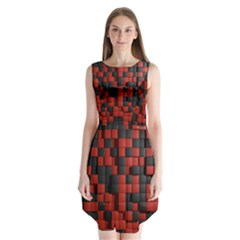 Black Red Tiles Checkerboard Sleeveless Chiffon Dress