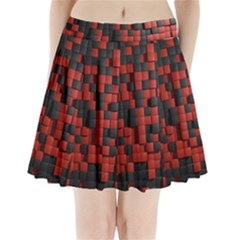 Black Red Tiles Checkerboard Pleated Mini Skirt