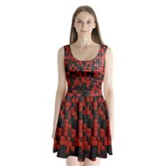 Black Red Tiles Checkerboard Split Back Mini Dress